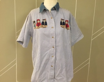 Vintage 80's Stripe Denim Embroidered Cats Button Shirt Size Medium By Quizz Again Mad in India Vintage Cat With Glasses Shirt