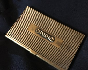 Brass card case etsy vintage business card brass holder antiqued stripped brass business card case 3 58 x 2 14 colourmoves