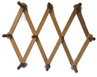 Vintage Accordion Adjustable Wooden Peg Rack Wall Hooks Rack, Vintage 10 Pegs Adjustable Wood Accordion Rack