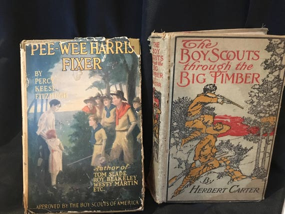 Pair Of Vintage Boy Scouts Books Pee Wee Harris Etsy