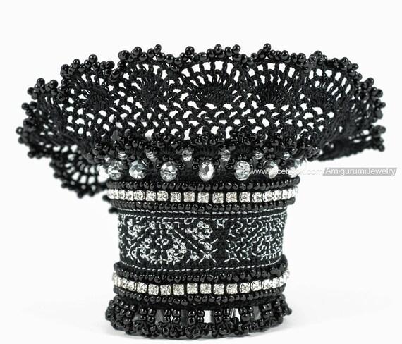 Gehäkelter Armreif. Schwarz Silber Armband. Perlen Armband. | Etsy