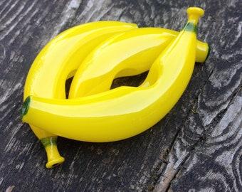 Banana Glass Pipes, Bright Yellow Smoking Bowl, Original Banana Fruit Pipe, Made in the USA, Customizable Smoke Accessory Bowl, Fruit Decor