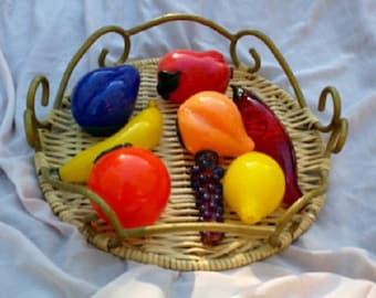 Unique Set of Glass Pipes Fruit Bowl Art; includes: Peach, Apple, Banana, Chili, Grapes, Plum, Orange and Lemon Smoking Accessories