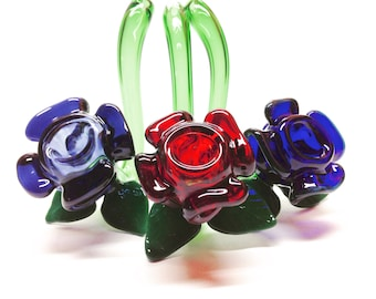 Sculpted Rose-shaped Sherlock Glass Smoking Flower Pipes; Unique Girly Smoke Accessory Available in Red, Blue or Purple Colors
