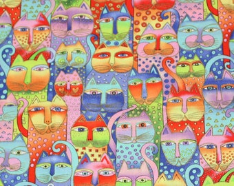 Laurel Burch Very Rare Oop FANCIFUL FELINES Pastel Packed Cats Fabric - By The Half Yard