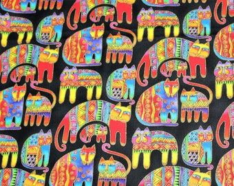 Laurel Burch Very Rare Oop FANCIFUL FELINES Bright Cats on Black Fabric - By The Half Yard
