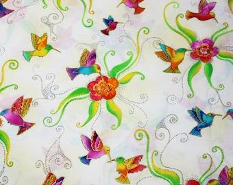 Laurel Burch Rare Oop FLYING COLORS II Hummingbirds on Cream Fabric - By The Half Yard