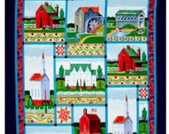 JIM SHORE Village Farm Fabric PANEL For Springs Creative 2016