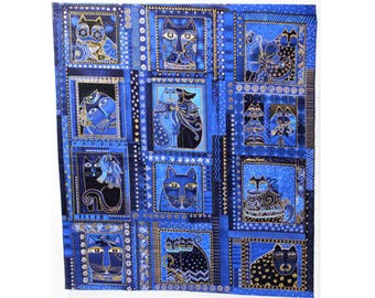 Laurel Burch Rare Oop FABULOUS FELINES Fabric Panel in Blue