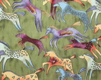 BTHY Laurel Burch Rare Oop EMBRACING HORSES Large Heads Brights Fabric