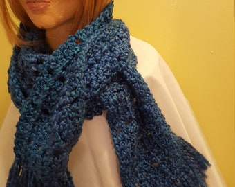 18124---Royal Blue scarf with fringe
