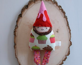 Handmade Fantastical Friends Cupcake Gnome in Red Frosted Hat Mini Doll