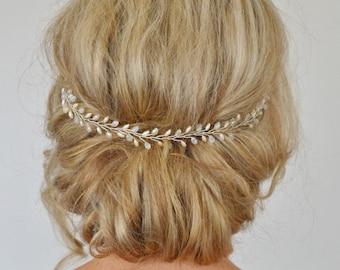 Bridal Hair Vine,Wedding Hair Vine,Pearl Crystal Hair Vine, Fern Leaf Head Piece, Bridal Hair Accessories,Bridal Headband, Wedding Headband