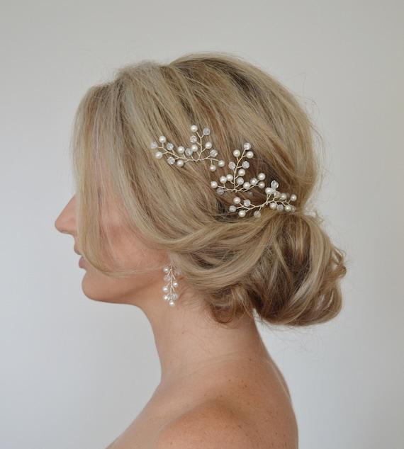 Pearl Crystal Hair Pins Bridal Hair Accessories Grecian Branch Hair Pins Wedding Hair piece Set of 3 Formal Hair Pins Bridal Hair Pins