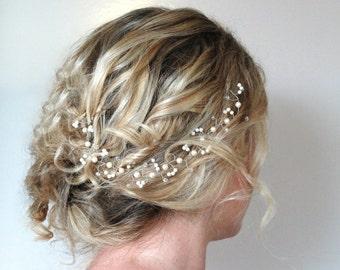 Pearl Crystal Hair Vine,Wedding Hair Accessories,Elegant Flexible Wedding Halo Wreath,Swarovski Pearl Hair Piece,Boho Woodland Beach Bride