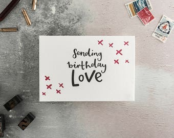 Sending Birthday Love Letterpress Birthday Card