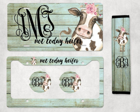 77 Custom Tag Women Cow Monogram Car Tag Cow Print Monogram License Plate Headband Cow License Plate Frame Personalized License Plate