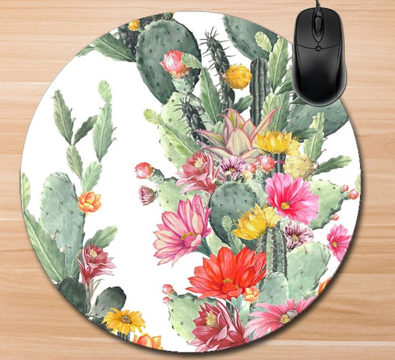 Cactus Mouse Pad/Custom Mouse Pad/Blooming Cactus Mouse image 0