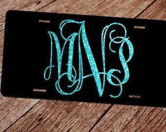 Glitter Monogram License Plate. (Faux)  License Plate Frame. Custom License Plate. Monogram Car Tag. Front License Plate. Black Car Tag