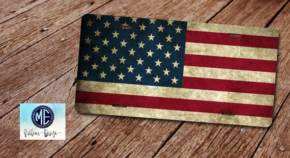 """Vintage Rustic USA American Stars and Stripes 6/""""x12/"""" License Plate Sign"""
