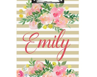 Custom Monogram Clipboard. Watercolor Floral Clipboard. Teacher's Gift. Coach's Gift.