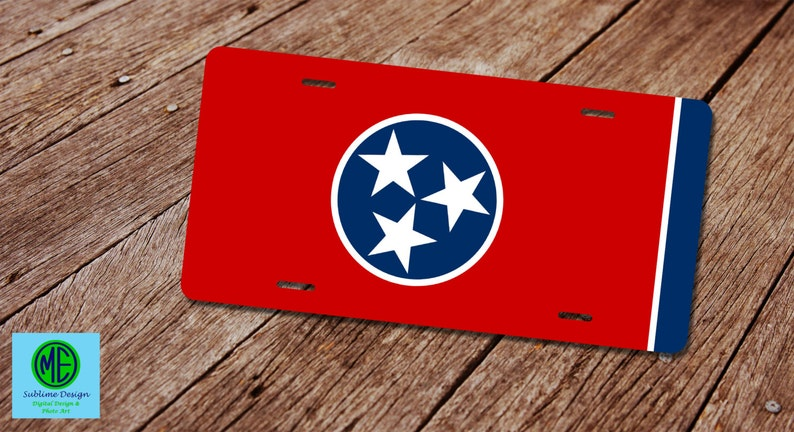 Tennessee State Flag License Plate License Plate Frame Tri Etsy