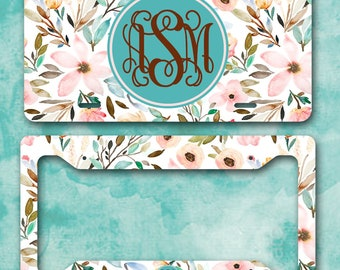 Monogram License Plate/Custom License Plate/Monogram License Plate Frame/Floral License Plate/Floral Water Color Monogram Car Tag