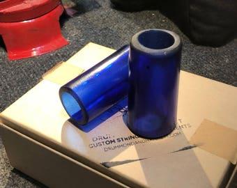 Authentic 'Rare Blue' Italian Glass Hand-Cut Blues Guitar Bottle Slide