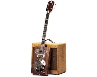 D+H Guitar Co. 'Harlequin' Resophonic Cigar Box Guitar 4 String