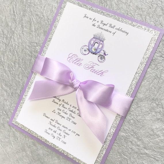 Purple Quinceanera Invitation Royal Princess Sweet 16 Elegant Silver Glitter Cinderella