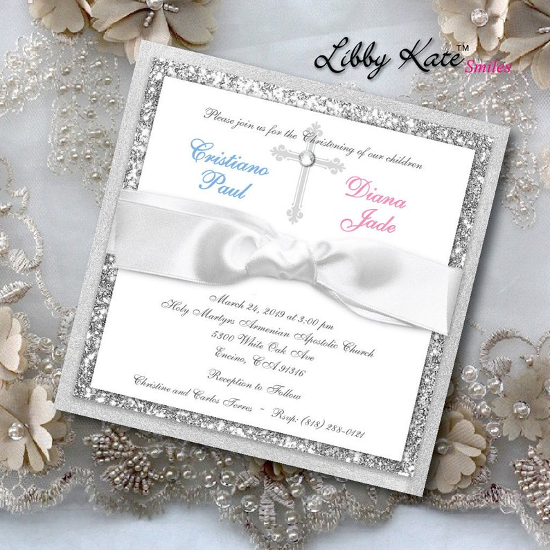 Twin Communion Invitation Baptism Boy And Girl Gender Neutral
