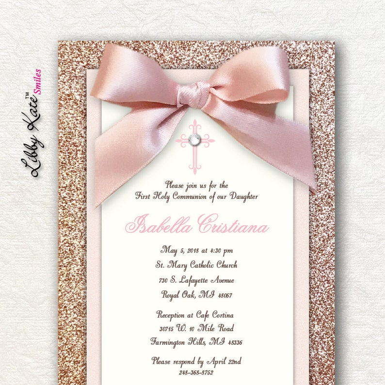 Rose Gold First Communion Invitation Girl Holy