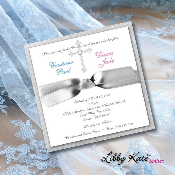 Twin First Communion Invitation Boy And Girl