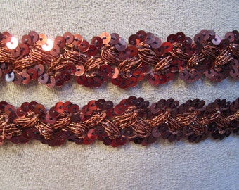 """Vintage Brown Sequin and Shiny String/Thread Trim.  3/4"""" x 5 yards.  Continuous, carded"""