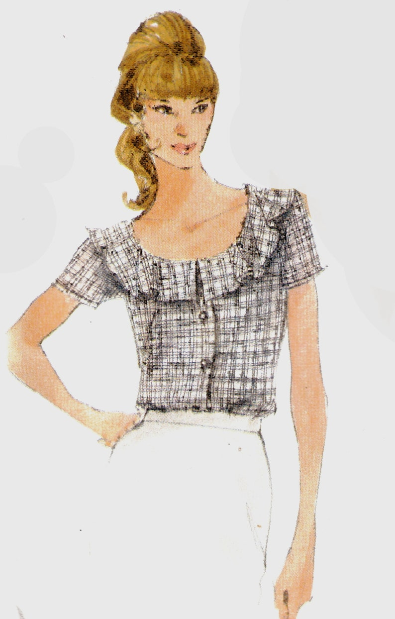 Vogue Pattern 9853 UNCUT and in Factory Folds Size 8-10-12 Loose Fitting Blouse with Neckline and Sleeve Variations Very Easy