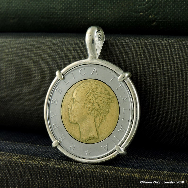 Italy Coin Jewelry with Vintage Italian Mixed Metal Coin in Handmade  Pendant Setting