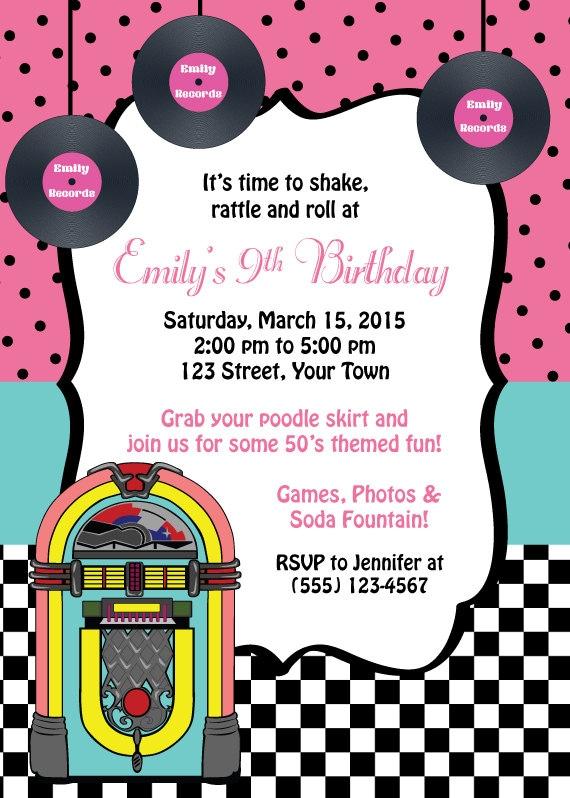 50 S Themed Birthday Invitation Birthday Invitation Etsy