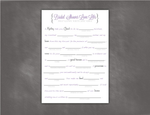 Bridal Shower Mad Libs, Funny, Write Your Vows