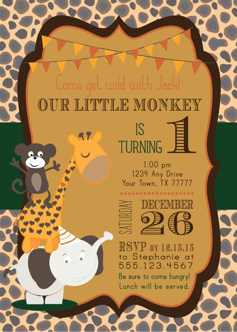 Jungle Birthday Party Invitation Our Little Monkey