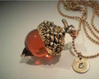 Amber Acorn Art Glass Necklace with Initial Charm- long gold chain - Autumn Fall oak orange monogram lampwork pendant