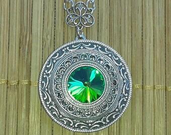 In Australia - Forest Whispers - Vitrail Rivoli Victorian Style Silver Filigree Locket green gem bridal bridesmaid gift