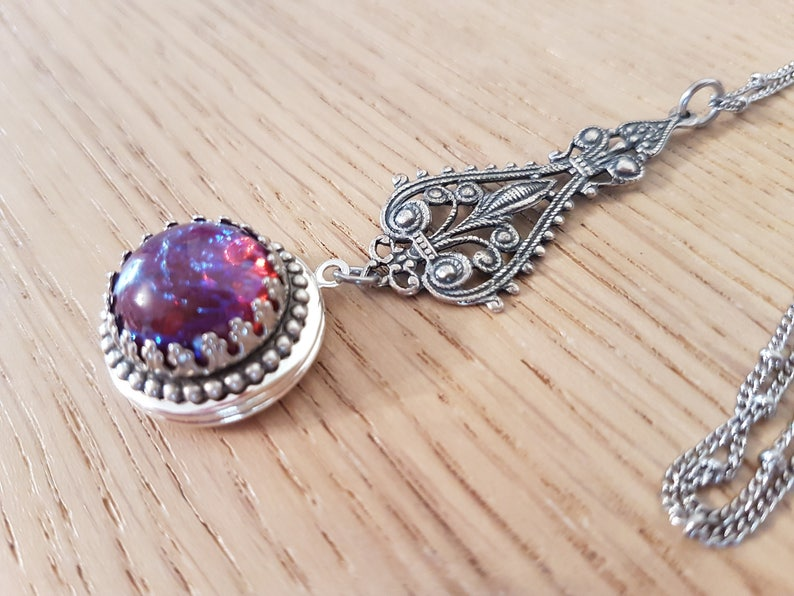 Mexican Opal /& Filigree Victorian Style Dragon/'s breath vintage glass opal Dragon Goddess Small Round Silver Locket Necklace