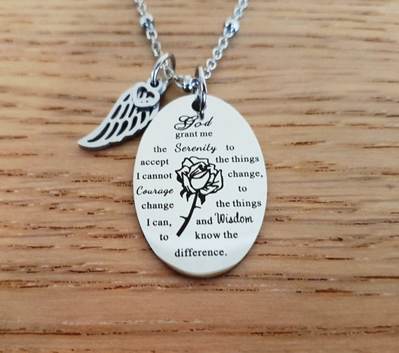Angel Wings /& Courage Charm Necklace
