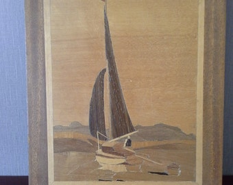wooden marquetry boating picture