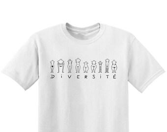 Diversité - T-shirt sérigraphié blanc en coton bio