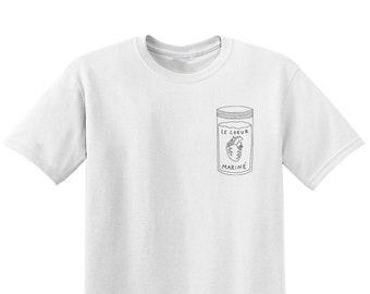 Coeur mariné - T-shirt sérigraphié blanc en coton bio - PRÉCOMMANDE