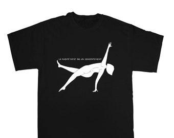 La nudité n'est pas un consentement - T-shirt sérigraphié noir