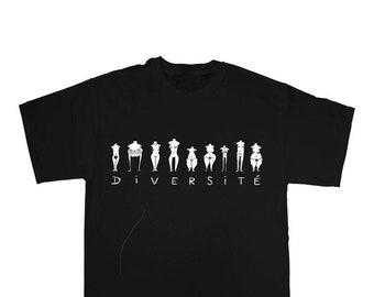 Diversité - T-shirt sérigraphié noir en coton bio