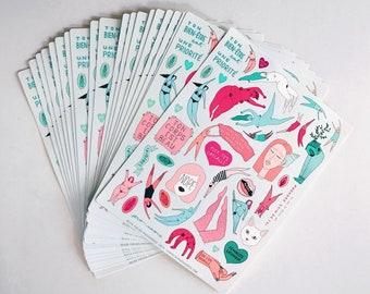 Feuille de 40 autocollants en vinyle - stickers