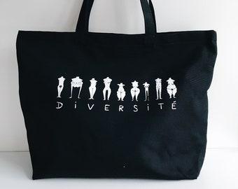 Diversité - Grand sac noir sérigraphié en coton bio